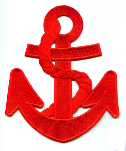 """Red W//Red Rope Nautical Embroidered Iron On Applique Patch 5 7//8/""""H Anchor"""