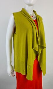 Neiman-Marcus-New-12-US-48-IT-L-Lime-Green-Cashmere-Cardigan-Sweater-Runway-Auth