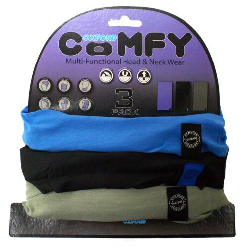 OXFORD COMFY BLUE//BLACK//GREY NECK TUBE 3 PACK HEAD SCARF BALACLAVA BANDANA MASK