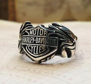 Harley-Davidson-Motorcycle-Logo-Ring-Solide-925-K-Sterling-Silber-Mens-Ring