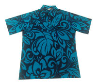 Hawaiian Iolani Pono Turquoise Polyester Knit Pull Over Men Aloha Shirt-m,l,xl