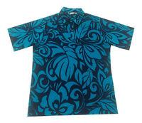Hawaiian Iolani Pono Turquoise Polyester Knit Pull Over Men Aloha Shirt-m,l,xl