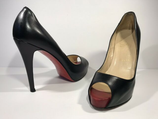 23215705a1a Christian Louboutin Black Leather Very Prive Platform Peep Toe Pumps Size 38