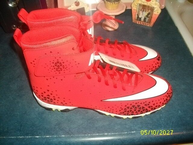 NIKE FORCE BEAST SHARK FOOTBALL CLEATS RED/WHITE/ BLACK MENS SIZE 11 NEW NO BOX