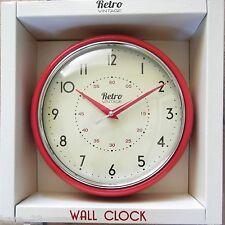 ROUND KITCHEN CLOCK RETRO VINTAGE SHABBY RED  CHROME WALL CLOCK