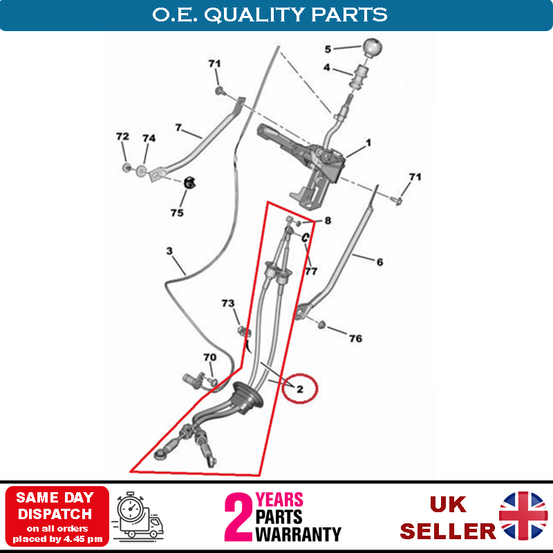 GEAR CONTROL CABLE for RENAULT MASTER II Platform//Chassis 2.5 dCi 100 2003-/>on