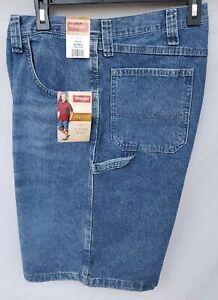 "New Men/'s Wrangler Carpenter Denim Indigo Wash 48 Waist 10/"" Inseam Shorts"