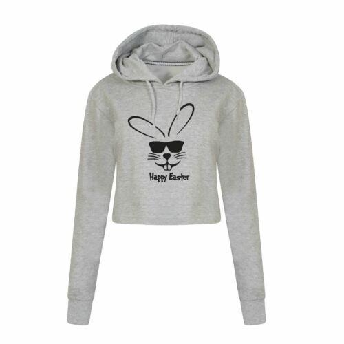 Hoppy Easter Bunny Hoodie Top Ladies SweatShirts Funny Crop Hooded Gift Present