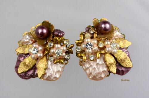 Vintage unsigned Miriam Haskell Earrings, Miriam H