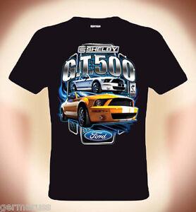 T-Shirt-Ford-Mustang-Shelby-Cobra-GT-500-JAUNE-S-3XL-jusqu-039-a-5XL-poss