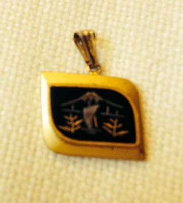 Asian Gold Silver Onyx Pendant
