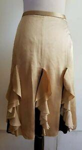 ALANNAH-HILL-Beige-Gold-Black-Trim-039-She-Is-So-Spooky-039-Silk-Skirt-Size-10