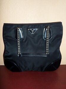 49b29715fd4b PRADA Small CHAIN BLACK TESSUTO NYLON and Leather Shoulder Bag EUC ...