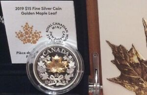 Masters Club $15 Pure Silver Proof Coin 2019 Canada Golden 3D Maple Leaf