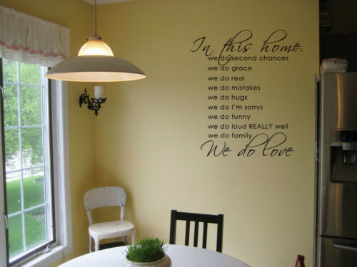 In This Home We Do Second Chances Family Vinyl Wall Decal Sticker Home Decor