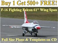 F-16 Falcon 61 Giant Scale Rc Airplane Plans & Templates On Cd In Pdf Format