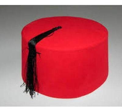 RED TURKISH FEZ FES TARBUSH CONE EXOTIC OTTOMAN HAT TOMMY COOPER,DR.WHO