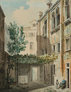 Unbekannter-Kuenstler-Innenhof-in-Venedig-um-1830-Aquarell