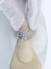 14K WHITE GOLD 2 CT BAGUETTE & ROUND DIAMOND RING SZ 7 1/4