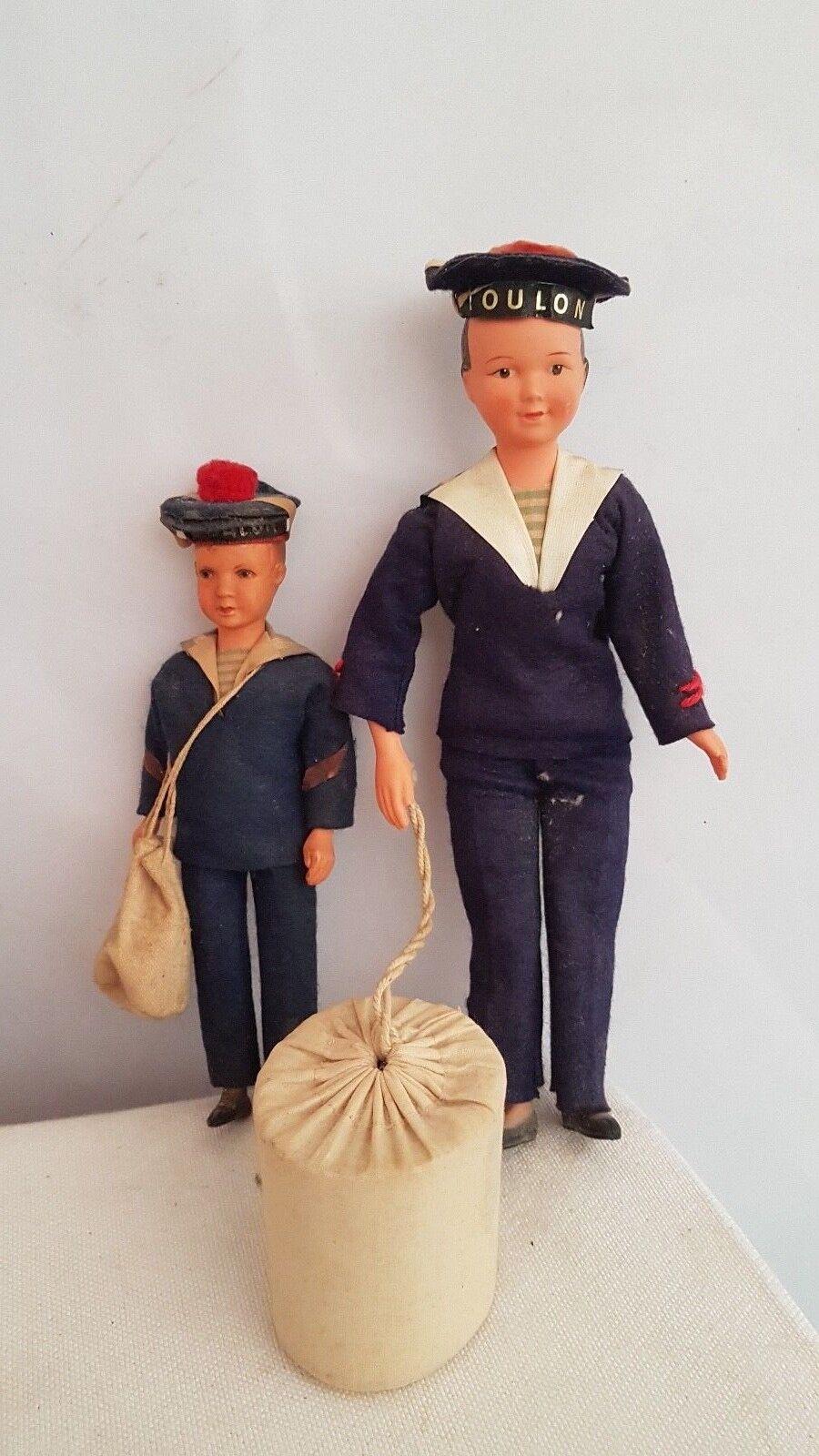 2 Anciennes Poupées  marine marins TOULON  miglior reputazione