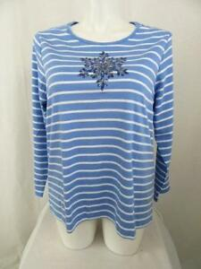 Quacker-Factory-Size-1X-Blue-Stripe-Sequin-Snowflake-Long-Sleeve-T-Shirt