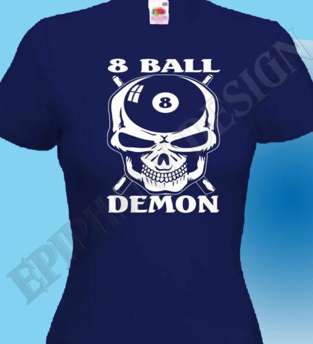 Pool T-Shirt 8 Ball Hustler T-Shirt Snooker  8 Ball Demon Skulls Head Original
