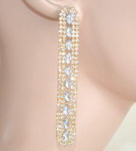 PENDIENTES mujer oro colgantes strass cristales elegantes cerimonia novia 1120