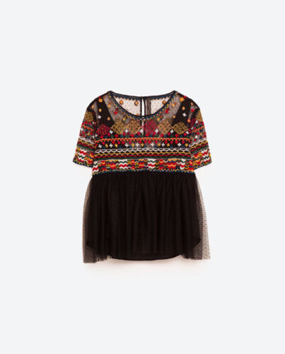 Zara Black Embroidered Top Size S,M,L