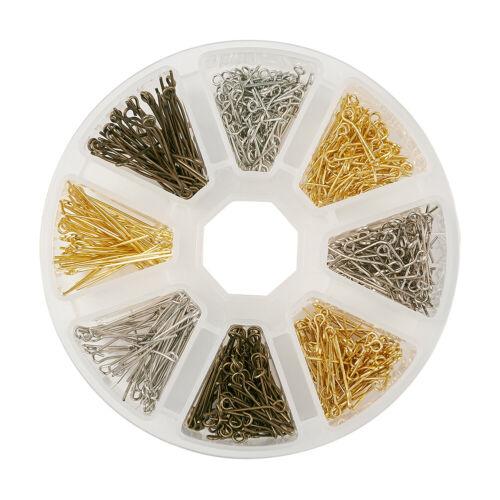 1 boîte de fer Mixte 16//20//30mm Eye Pin Jewelry Findings for jewelry making trou 2 mm