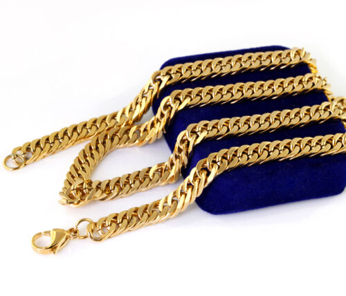 Bright-Gold-Tone-316L-Stainless-Steel-Cuban-Chain-Mens-Necklace-23-6in
