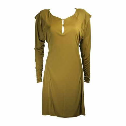 HOLLY HARP Curry Green Long Sleeve Jersey Dress Si
