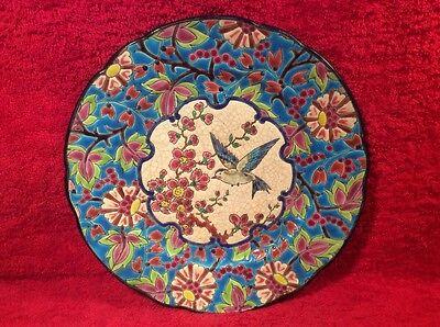 Antique Vintage Enameled Emaux de Longwy Hummingbird Plate, fm957  GIFT QUALITY!