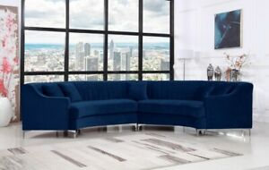 Details About Channel Tufting Design Navy Color Contemporary Curved 2piece Sectional Sofa Set