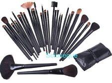 SET ASTUCCIO 32 SPAZZOLE CAPELLI NATURALE TRUCCO Makeup Cosmetic Brush