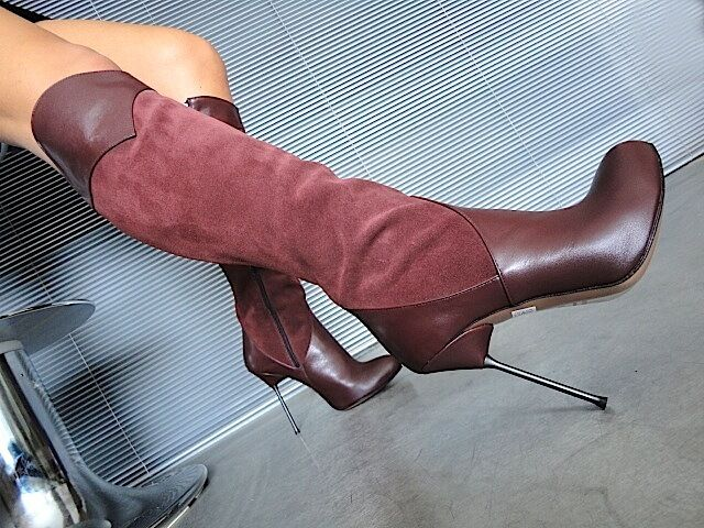 MORI ITALY KNEE HEELS BOOTS STIEFEL STIVALI SUEDE LEATHER BORDEAUX RED BORDO 42