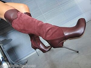 MORI-ITALY-KNEE-HEELS-BOOTS-STIEFEL-STIVALI-SUEDE-LEATHER-BORDEAUX-RED-BORDO-42