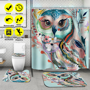 3-4Pcs-Shower-Curtain-Polyester-Non-Slip-Pedestal-Rug-Lid-Toilet-Cover-Bath-Mat