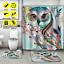 3-4Pcs-Shower-Curtain-Polyester-Non-Slip-Pedestal-Rug-Lid-Toilet-Cover-Bath-Mat miniature 1