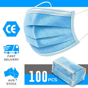 100x Disposable Mask Face Masks Anti PM2.5 Dust Pollen Respirator 3 Layers