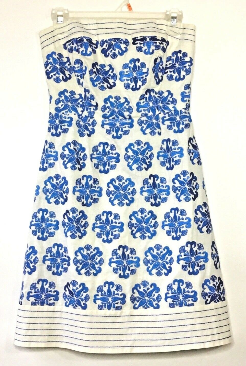 Lilly Pulitzer Womens Strapless Embroidered A Line Dress 0 Off White bluee EUC K8