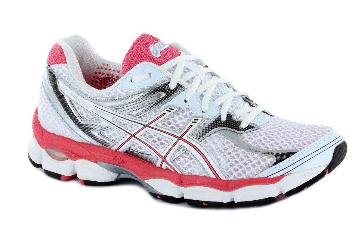 Da Donna ASICS GEL-CUMULUS 14 Bianco Running Scarpe da ginnastica T296N0100