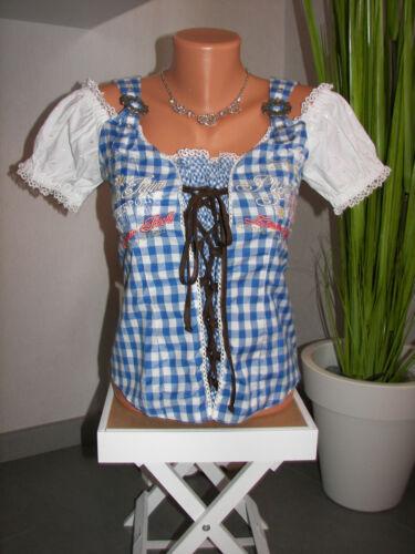 Stockerpoint trachtenmieder 34 36 azur azul blanco Trachten blusa nuevo