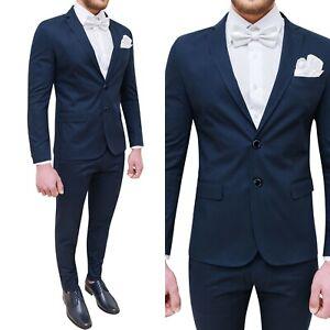 Vestiti Cerimonia Uomo Estivi.Abito Vestito Da Uomo Matrimonio Cerimonia Blu Slim Fit Cotone