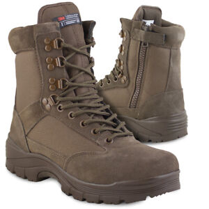 5dd1181a971 Details about Mil-Tec Men's Brown Tactical Military Army Combat Cadet  Hiking Side-Zip Boots