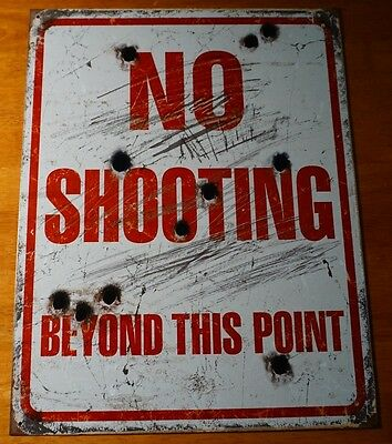 No Shooting Beyond This Point Hunting Cabin Hunters Lodge Decor Bullet Hole Sign In Veel Stijlen