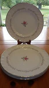Dinner Plates in Royal Swirl pattern Fine China of Japan Rimmed Platinum 3 10""