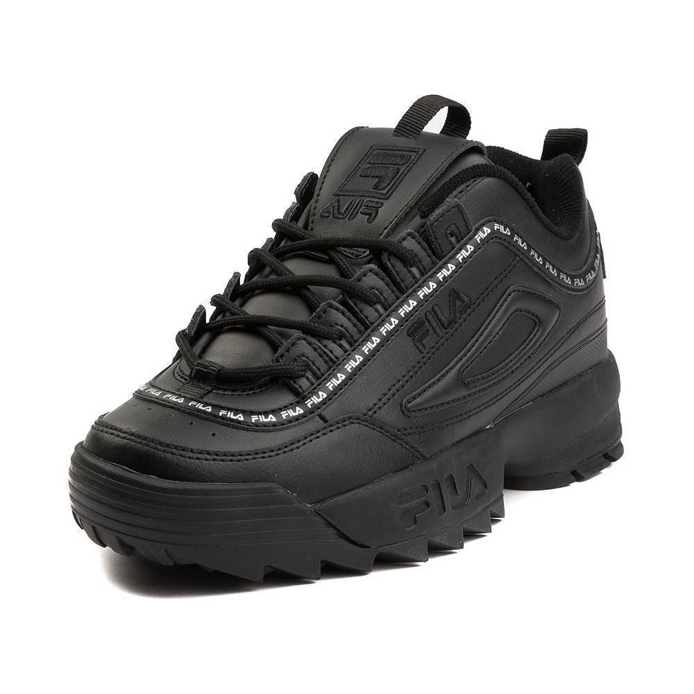 NEW Womens Fila Disruptor II Athletic shoes Black Mono Logo White