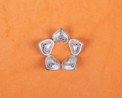 20pc 13*12mm Bling Argent Floral Cœur Leathercraft bracelt CEINTURE DECOR Conchos