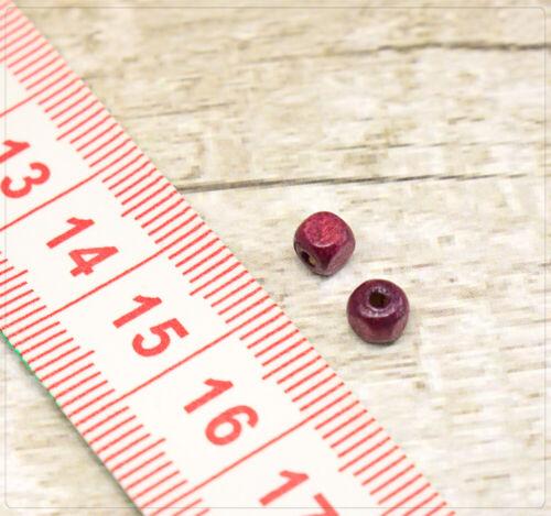 100x Holzperlen Beads Fädelschmuck Schmuck DIY Basteln Würfel Quadrat 4mm Berry