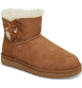 on feet shots of latest design lowest discount Authentic UGG Women's Shoes Mini Bailey Button Poppy Boot Chestnut ...